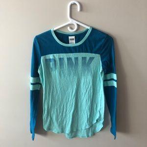 3/$30 PINK Blue Long Sleeve Baseball Top